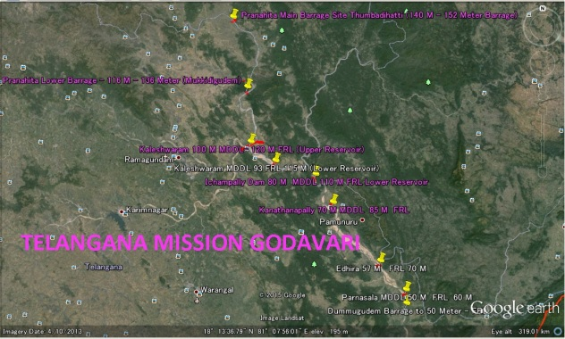 Mission Godavari - Potential Dam Sites - On Google Earth